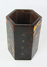 China Qing Tortoise shell hexagonal brushpot inscribed