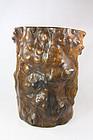 china Old scroll pot wood  qing  H 25 cm 20 cm