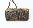 china old button rare design wood