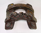 China Old Horse Saddle  wood Lions