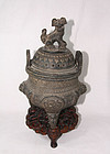 China Old Incense burner with stand 19th C