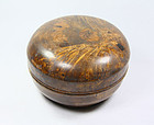 china old round box burl  bun box late qing
