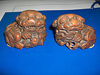china   old  pair lion  toggles zhu gen
