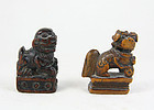 china  Old Pair Lions wood   toggles  2