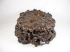 huanghuali tree root carving with original zitan stand