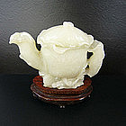 China Jade Teapot 20th century Lotus Hetian Khotan