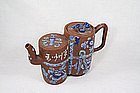 Yixing Teapot  Double Gourd  Old Cup of Light  Enamel