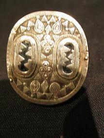 a big  kazakh silver ring