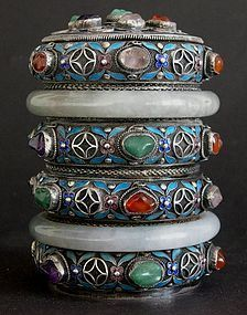 Chinese silver enamelled box jade mounted
