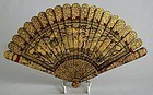 Chinese lacquer and gilt fan
