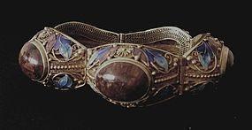 Chinese gilt silver filigree and enamel bracelet