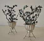 Chinese pair of small silver and enamel planters