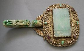 Chinese jadeite  mounted on a mirror