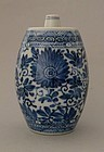 Chinese porcelain blue white kangxi vase barrel shaped