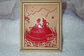 Vintage Red Silhouette of two Ladies Convex Glass