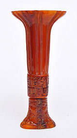 A Chinese Horn Finely Carved Miniature Gu / Vase