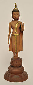 A Thai Wood Carved Standing Buddha