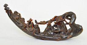 A Chinese Horn Carved Boat