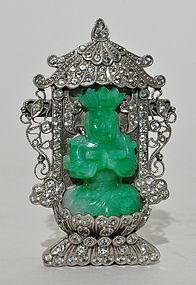 A Silvery Metal Brooch with Jade Seated Buddha