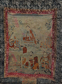 A Thangka Embroidery with 5 Arahats