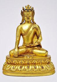 A Sino-Tibetan Gilt Bronze Akshobhya Buddha