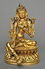 A Sino-Tibetan Green Tara Bodhisattva