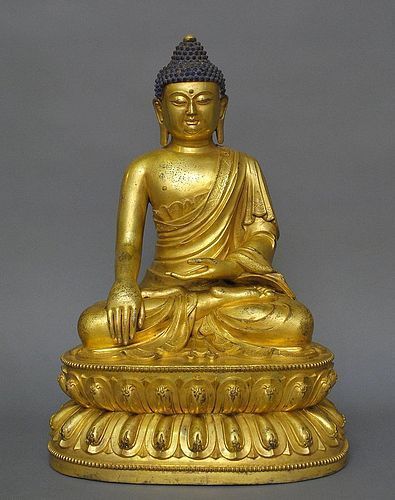 A Very Large Sino-Tibetan Gilt Bronze Buddha
