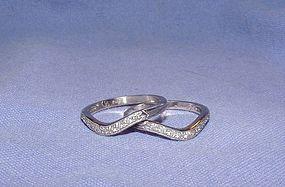 Vintage Pair Diamond Platinum Wedding Guard Rings