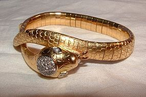 Art Deco 18K Yellow Gold Diamond Snake Bracelet