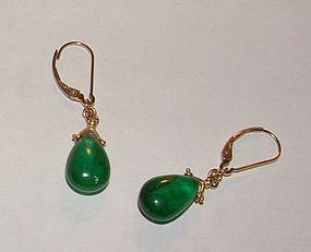 Vintage 18K Gold Emerald Dangle Wire Earrings