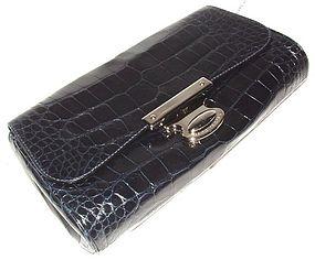 Authentic Marc Jacobs Navy Alligator Clutch Handbag NEW