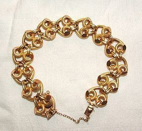"18K Yellow Gold Link Retro Bracelet 8.12"" Long"