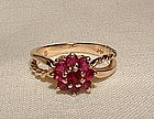 14K Yellow Gold Ruby and Garnet Cluster Ring