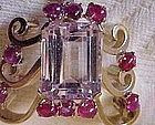 Retro 14K Yellow Gold Kunzite Ruby Brooch and Pendant