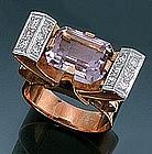 Art Deco 14K Yellow Gold Amethyst Diamond Ring