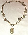 14K Yellow Gold Long Jade Necklace