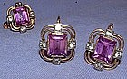 14K Gold Deco Amethyst Sapphire Earrings, Ring, Pendant