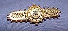 Victorian 15K Yellow Gold Etruscan Diamond Bar Pin