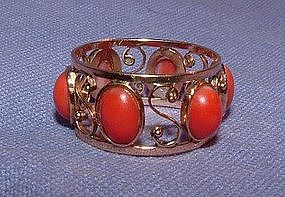 Art Nouveau 14K Yellow Gold Coral Eternity Band