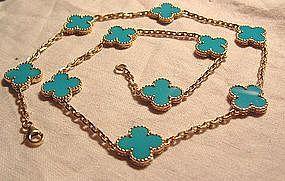 Van Cleef & Arpels 18K Turquoise Alhambra Necklace