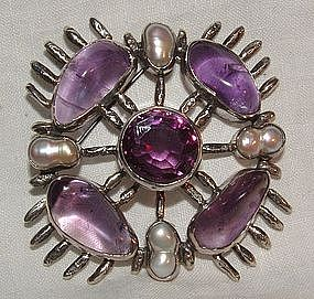 1970s Silver Amethyst Modernist Cross Pin with Pearls