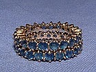 14K Gold Sapphire Eternity Stack Rings Matched Pair