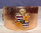 14K Wide Retro Cuff Bracelet with Enamel Medallion