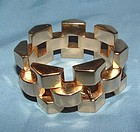 Retro 14K Yellow Gold Wide Bracelet c1940s