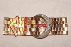 Art Deco 18K Rose Gold Diamond Ruby Buckle Bracelet