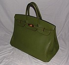 Authentic Hermes Birkin Bag 40cm Green Togo Leather