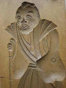 Kashigata, Wooden Sweet Mold, Old Man (Jou), Japan