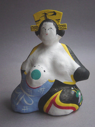 Miharu Hariko, Papier-mache Doll. Mother Nursing Child.