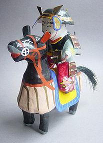 Miharu Hariko Papier-mache Doll, Samurai on Horseback