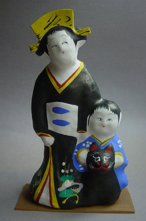 Miharu Hariko Papier-mache Doll; Mother, Child, & Fox